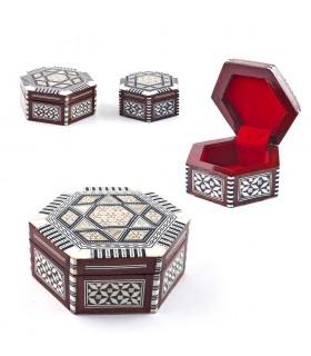 Madrepérola caixa hexagonal branco-Egito embutido - 2 tamanhos