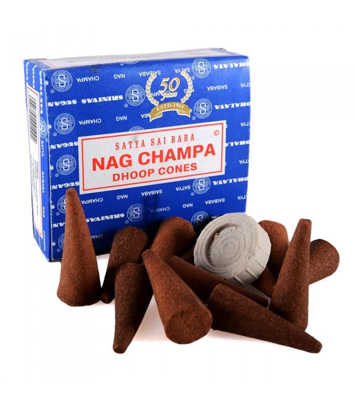 Conos Incienso Nag Champa - SATYA - 12 unidades - Incluye Base