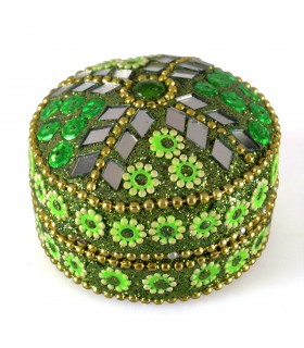 Box shiny round - inside velvet - assorted colors