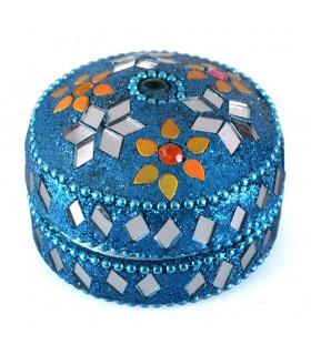Kasten glänzend Runde - inside samt - sortierte Farben