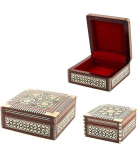 Square Box White Nacar - Velvet - Egyptian Marquetry