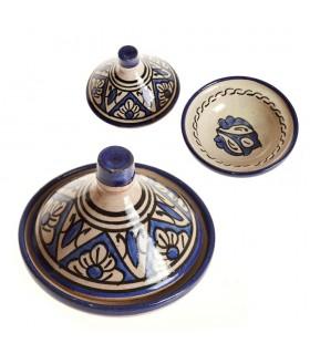 Épicier Tajin Mini ornés de motifs arabes deux couleurs - 10 cm de haut