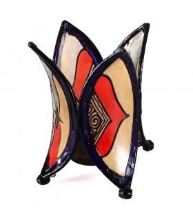 Porta candele fiore - pelle - verniciata con l'henné - vari colori - 16 cm