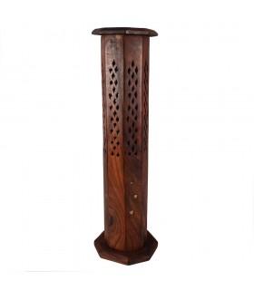 Incensário torre octogonal - Base e torre - madeira - pena Floral