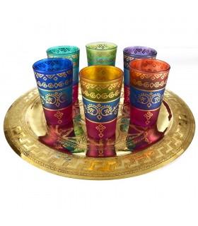 Jogo de 6 copos árabe - modelo cores interposta – novidade – 8