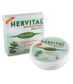 Poudre dentifrice avec des dents blanches et saines menthe fraîche - HERVITAL - - nouveauté - 50 g