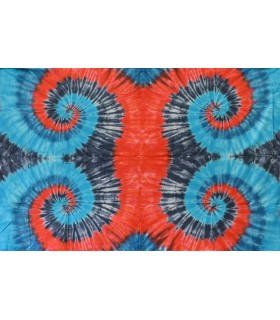 Fabric cotton India - Quad spiral blue Magenta - NOVELTY - 120 x 220 cm