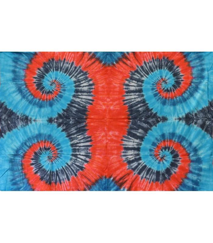 Fabric cotton India - Quad spiral blue Magenta - NOVELTY - 120 x 220 cm