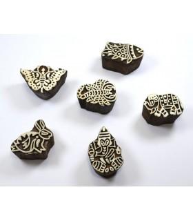 Assortiment de sceau de bois artisanal - hindous - icônes