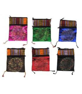 Borsa viaggio - overlay con tessuti di colori - ideale per passaporto - 2 scomparti