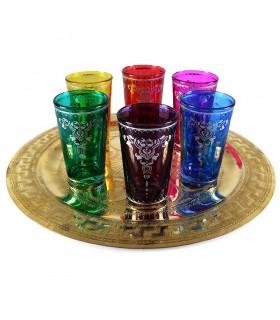 Jogo de 6 copos árabe - decoração Floral - novo - modelo 10