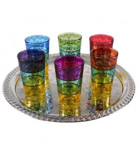 Juego 6 Vasos de Té Grabados -  Filigrana Floral Henna -Tricolor