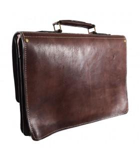 Кожаный портфель бюро - 3 отсеков - внутренний карман для мобильного - 38 см