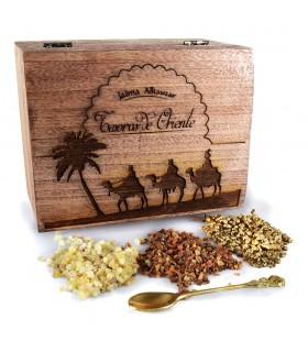 Tesouros do bloco de Leste - incenso mirra e ouro - inclui pinça incensário e carbono-