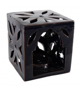 Porta candles ceramics - Floral cube - glazed - various colors - 10 cm