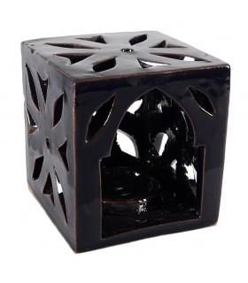 Porta candele ceramiche - cubo floreale - smaltato - colori vari - 10cm