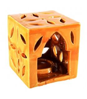 Porta bougies céramiques - cube Floral - vitré - diverses couleurs - 10 cm