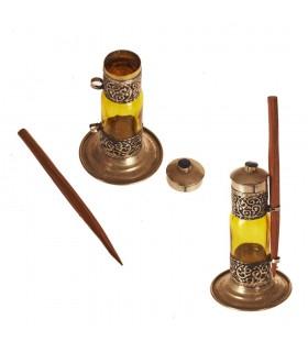 Recipiente de vidro e alpaca colírio taco de madeira (Kujul)