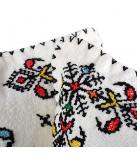 Pad cotton and wool - embroidered hand - craft - 35 cm