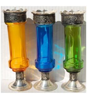Portavelas Cristal con Alpaca - Alargado- Varios Modelos