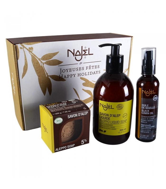 PAck discovery of the Aleppo - Aleppo SOAP - includes Aleppo liquid soap - oil massage and sponge - recommended