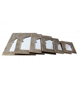 Espejo Latón Grabado - 6 Tamaños - Diseño Arco Arabe - Dorado o Plateado
