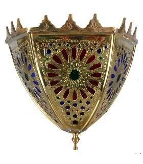 Aplique Dorado Bronce - Diseño Alcazaba - Cristales Tricolores - 3 Tamaños