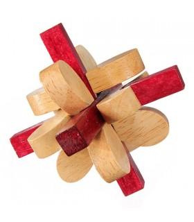 Juego Ingenio Madera - Puzzle 3D Flor - 7 cm