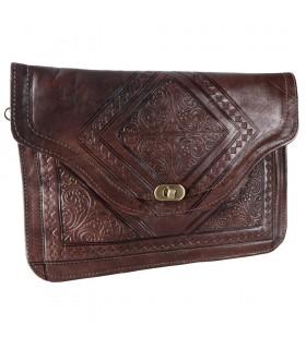 Sac en cuir - main ou suspendu - 2 poches - snap - diverses couleurs - 31 cm