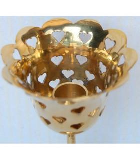 Kerze rose - Tiefgang mit Herzen - bronze