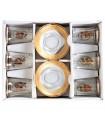 Giochi 6 tazze e 6 piattini - tè speciale - decorato oro