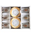 Set 6 Glasses And 6 Plates - Special Tea - Decorated Gold