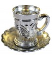 Set 6 Glasses And 6 Plates - Special Tea - Gold or Silver Plated