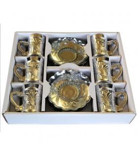 Spiel 6 Tassen und 6 Untertassen - besondere Tee - gebadet in Gold oder Silber
