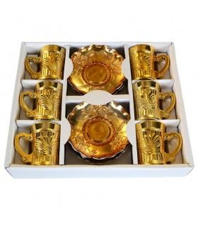 Jeu 6 tasses et 6 sous-tasses - thé spécial - baignant en or ou argent