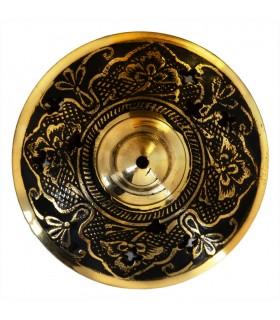 Incensário de bronze gravada - com tampa - novidade