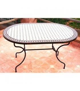 Tavolo artigianale mosaico - ovale - a mano - vari formati e colori