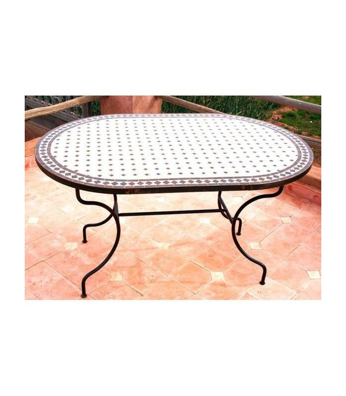 Table artisan mosaic - oval - handmade - various sizes and colors