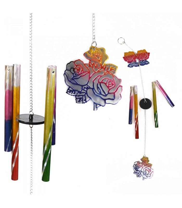 Movil Campana Viento - Rosa Multicolor - Fundición - 35 cm