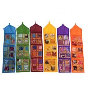 Tapete de retalhos brilhante - armazenado cartões - handmade - 75 x 19 cm - várias cores