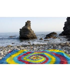 Stoff Baumwolle Indien - Spirale Regenbogen - Neuheit - 120 x 220 cm