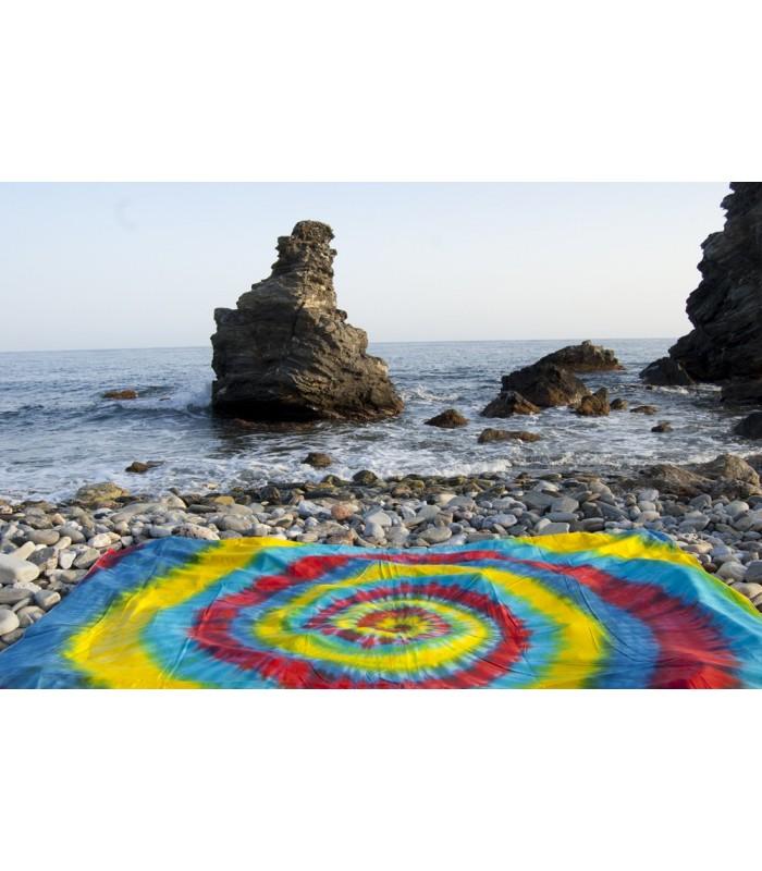 Fabric cotton India - spiral Rainbow - NOVELTY - 120 x 220 cm