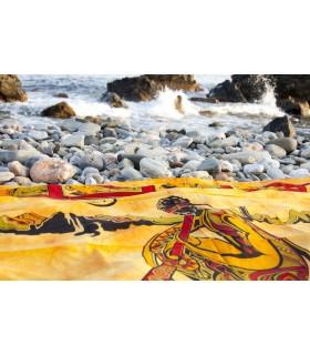 Cotton Fabric-India-Music Didgeridoo-140 x 210 cm