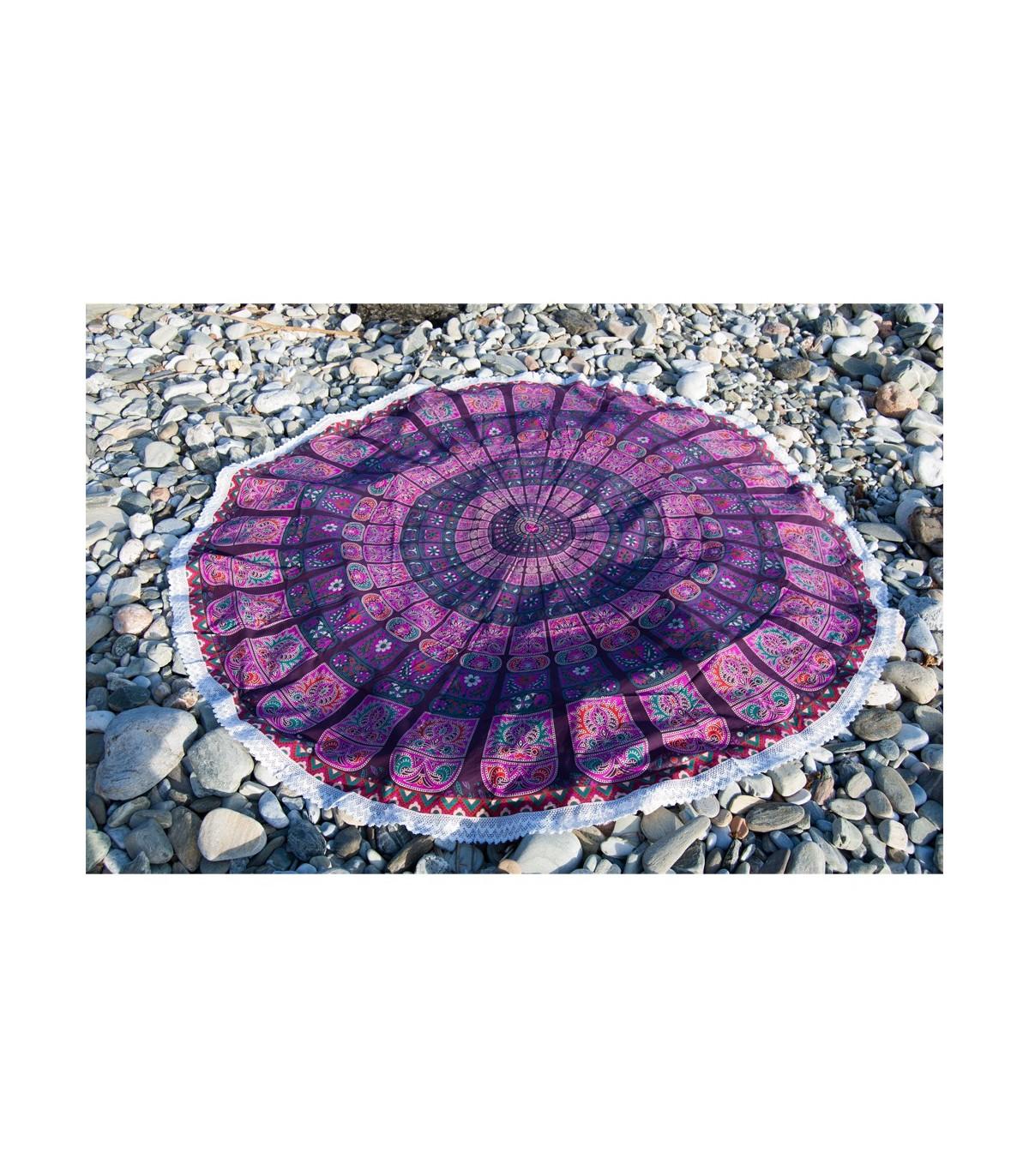 serviette en tissu inde rond coton nappe design floral 2 m. Black Bedroom Furniture Sets. Home Design Ideas