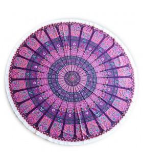 Tovagliolo del cotone rotondo tessuto - India - - tovaglia - Floral Design - 2m