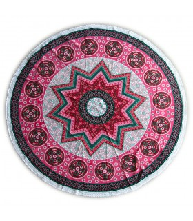 Round cotton fabric - India - towel - tablecloth - Floral Design - 2 m