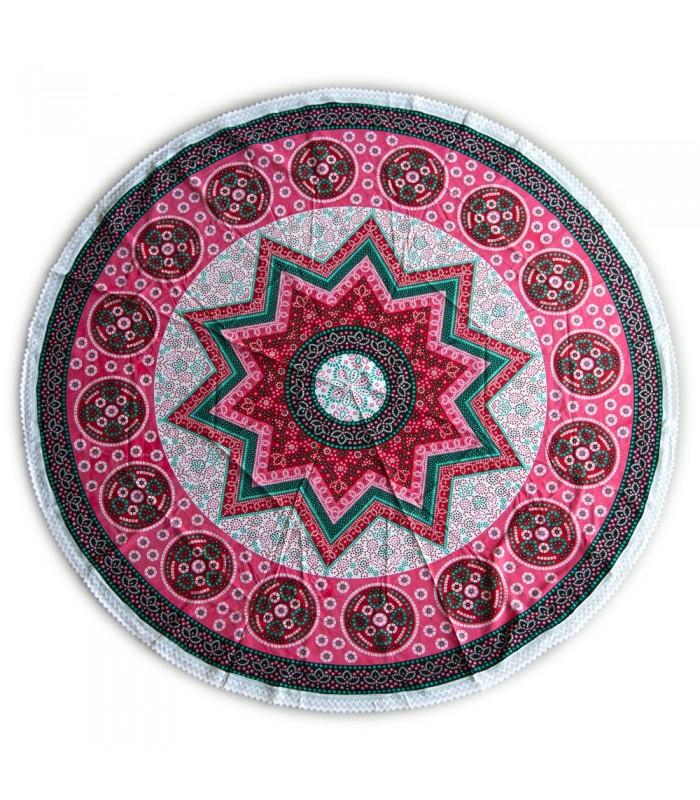 Tela Algodón Redonda - India - Toalla - Mantel - Diseño Estrella - 2 m