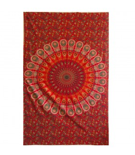 Tela Algodon India - Pluma Pavo Real - Artesana - 210 x 140 cm