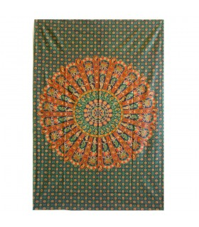Artigianale di tessuto cotone India - elefante imperiale - - 210 x 140 cm