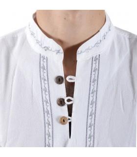 Algodão - camisa de pescoço branco bordado - vários tamanhos
